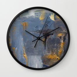 Blue, black ang gray abstract painting Wall Clock