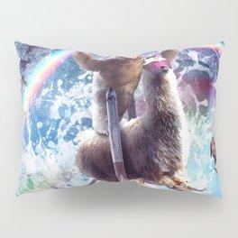 Rainbow Laser Sloth On Llama Unicorn In Space Pillow Sham