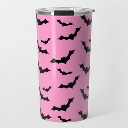 Black Bat Pattern on Pink Travel Mug
