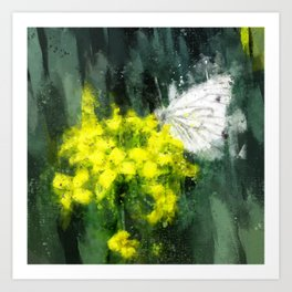 Cabbage White Butterfly on Brassica Flower Painterly Photo Art Art Print