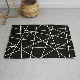 Geometric Lines (white/black) Rug