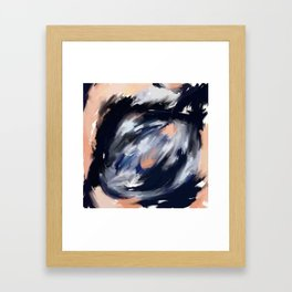 storm's eye - an abstract painting in peach, blue, white and black. Framed Art Print