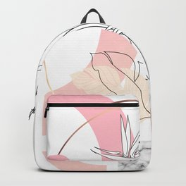 Tropical minimal / marble and bird of paradise plant Backpack