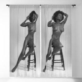Shasta sitting nude figure vertical linear mosaic Blackout Curtain