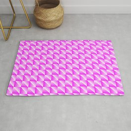 Braided pattern of delicate squares and raspberry diamonds with diagonal volumetric triangles. Rug