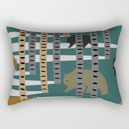 Bears walking in the forest Rectangular Pillow