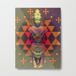 Indian Deity Geometric Metal Print