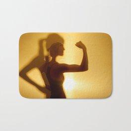 Silhouette Of Woman Flexing Bicep Muscle Bath Mat