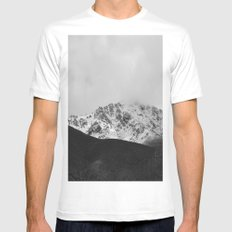 Snowy Mountains White Mens Fitted Tee MEDIUM