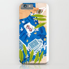 Playing Cards, Summer Games Vacation, Nature Bohemian Picnic Beach, Joker Illustration iPhone Case