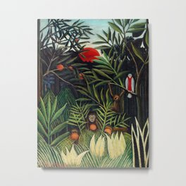 Henri Rousseau - Monkeys and Parrot in the Virgin Forest Metal Print