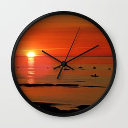 Kayaker and the Setting Sun Wall Clock