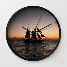 Sunset Sailboat Wall Clock