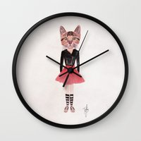kitty Wall Clocks featuring Kitty by BTP Designs