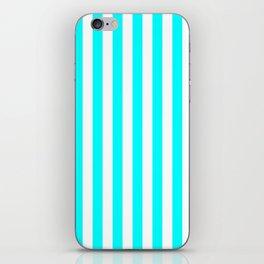 Narrow Vertical Stripes - White and Aqua Cyan iPhone Skin