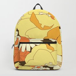 Yellow, Orange and Brown Vintage Floral Pattern Backpack