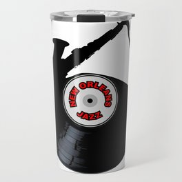 New Orleans Jazz Music Silhouette Record Travel Mug
