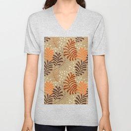 Abstract rustic botanical foliage brown beige burgundy red orange autumn leaf print Unisex V-Neck
