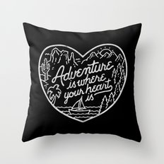 Adventure is where your heart is BW Throw Pillow
