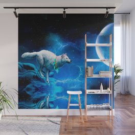 Wolf and Moon Wall Mural