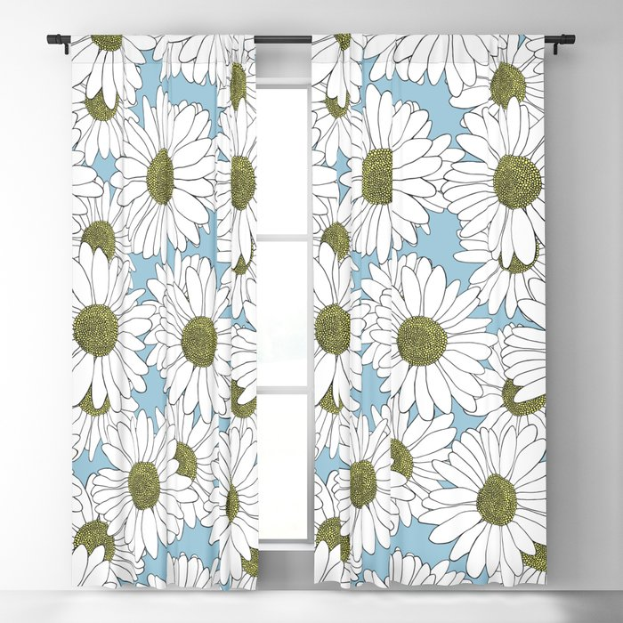 Daisy Blue Blackout Curtain