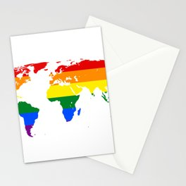 LGBT World Map Stationery Cards