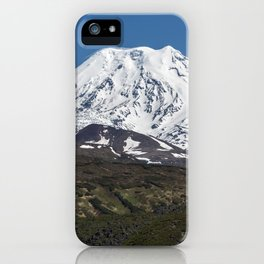 Summer mountain landscape, view of snowcapped cone of volcano on Kamchatka Peninsula iPhone Case