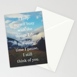 I keep myself busy with the things I do Grief & Loss Quote Stationery Cards