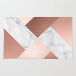Rose Gold and Marble Color Block Cross Pattern Rug