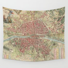 Vintage Map of Paris France (1784) Wall Tapestry