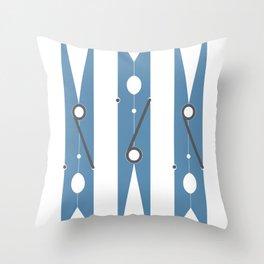 Clothespin navy Throw Pillow