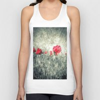 letters Tank Tops featuring Poppies & Letters by ARTbyJWP