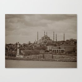 """Sultan Ahmed Mosque (""""Blue Mosque"""", Istanbul, TURKEY) from Bosphorus Strait Canvas Print"""
