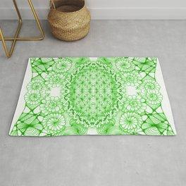Green Zentangle Tile Doodle Design Rug