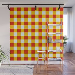 Red White Yellow Checkerboard Pattern Wall Mural