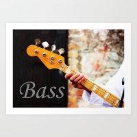 Bass Guitar neck , musical instrument  Art Print