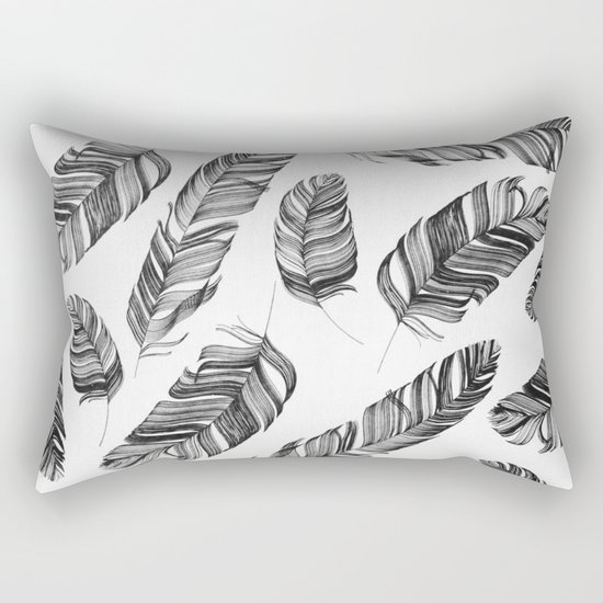 Black and white feathers Rectangular Pillow