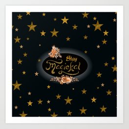 Stay Magical with Gold Glitter Stars Art Print
