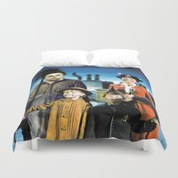 mary poppins Duvet Covers featuring Michael Myers in Mary Poppins by Luigi Tarini