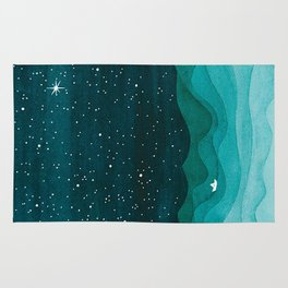Starry Ocean, teal sailboat watercolor sea waves night Rug