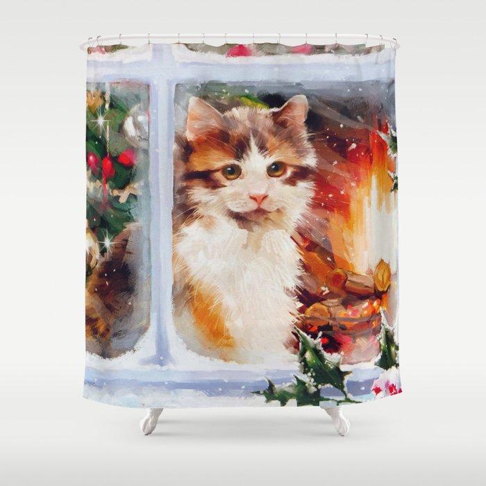 Christmas Kitten Shower Curtain By Frankiecat