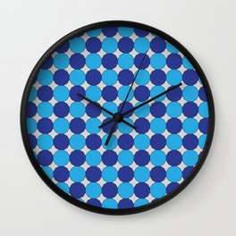 Blue Dodecagons on Silver Wall Clock