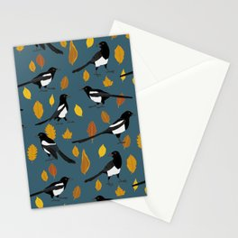 Autumn Magpie Pattern Stationery Cards
