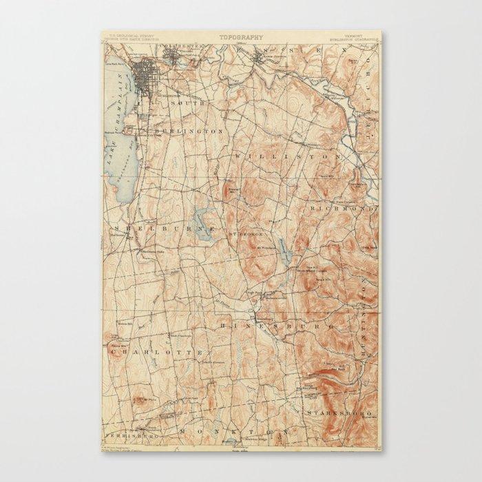 Vintage Burlington Vermont Topographic Map 1904 Canvas Print By