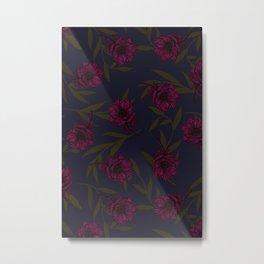 Anemone Field Pink & Dark Blue Metal Print