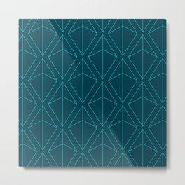 BLUE GEOMETRIC DIAMONDS Metal Print