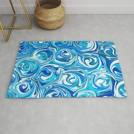 Aqua Blue Swirling Water Abstract Rug