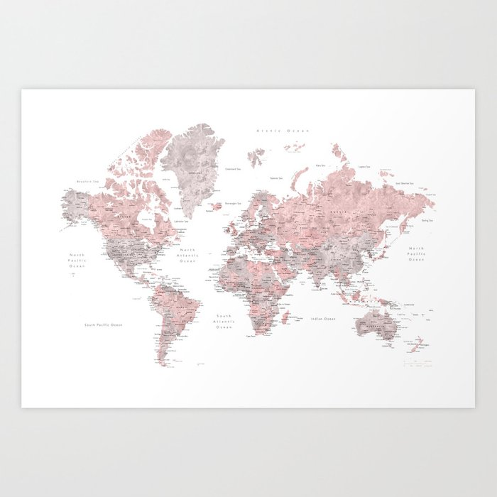 Dusty pink and grey detailed watercolor world map art print by dusty pink and grey detailed watercolor world map art print gumiabroncs Image collections