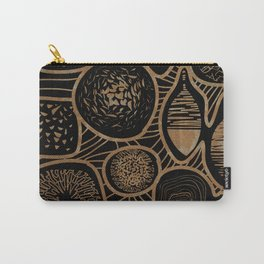 Vintage sepia pattern - linogravure style Carry-All Pouch