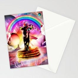 Sloth Riding Alpaca With Pancakes And Milkshake Stationery Cards